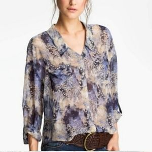 Free People sheer feather print blouse